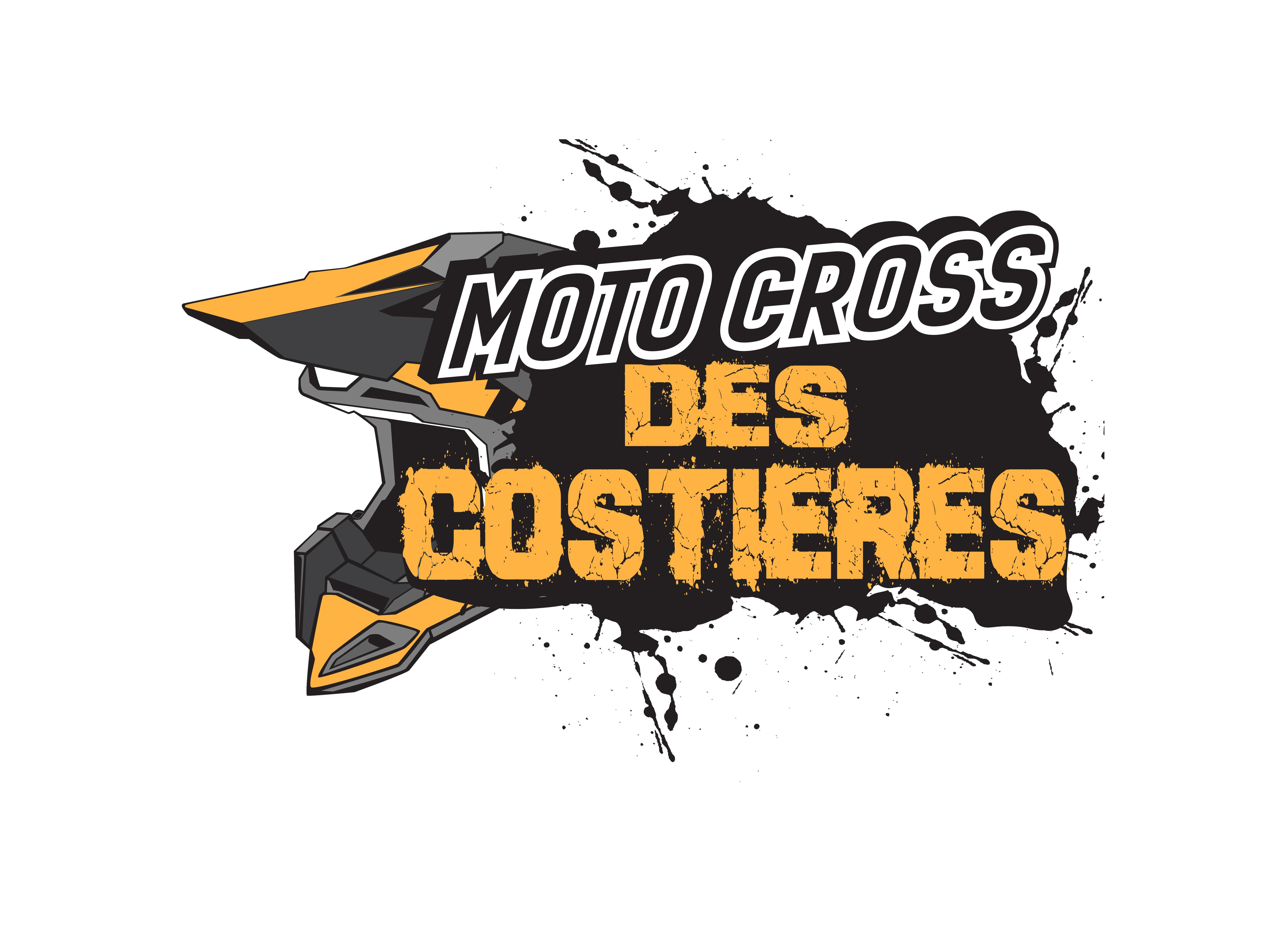 """Logo du MC costière, terrain de cross à Beauvoisin On y voit un casque ainsi que des éclats de noir, il est écrit en noir et majuscule """"moto crossé et """"des costières"""" en orange et majuscule."""