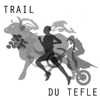 Logo du trail de tèfle avec un coureur, un motard, un taureau et des raisins